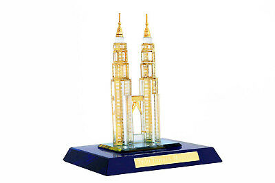 Crystal Made Twin Tower Of Malaysia Home Decorative Showpiece / Corporate Gift