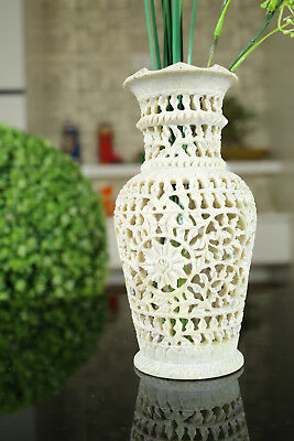 Flower Vase In Gorara Stone With Grill Work Home Decorative Showpiece