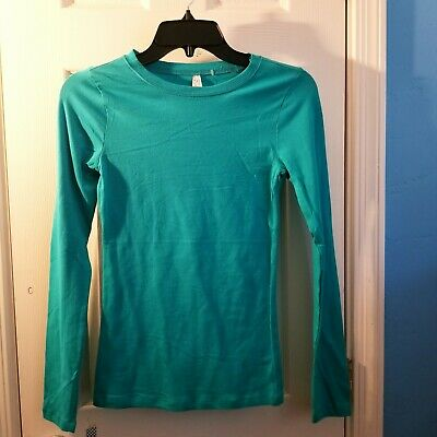 Color Story Women's T-Shirt Size Small Long Sleeve Teal Green Fitness Casual Top