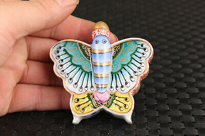 Fine chinese old porcelain hand painting butterfly statue snuff bottle