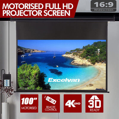 "100"" Portable Electric Motorized Projector Screen 16:9 HD Home Theater 3D Movie"