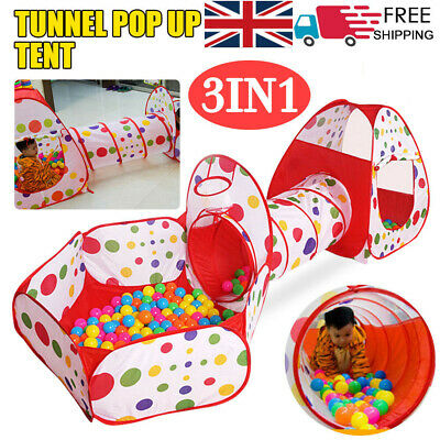 3 in 1 Kids Play Tent Toddler Tunnel Balls Pit Pop Up Cubby Playhouse UK