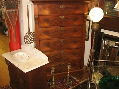 """Antique 63"""" Tall Mahogany Empire Chest 6 Drawers Lg Lingerie Cabinet 35 1/2"""" W"""