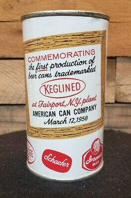 American Can Co Keglined New York Brewery Commemorative Beer Can Flat Bank Top