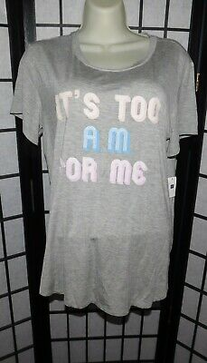 NWT GAP Body Pure Body Women's Sleep T -Shirt Med Light Heather  TOO A.M. FOR ME