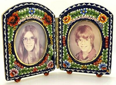 Vintage Small Micromosaic Double Picture Frame - Micro Mosaic