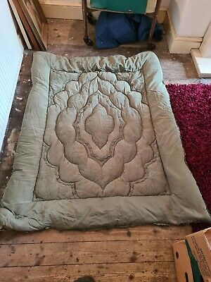 Vintage Green Eiderdown 1940's/50's Single Bed Down Nice Condition