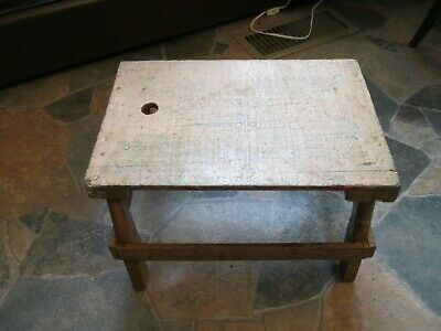 Antique Primitive Yellow Farmhouse Wooden Step Stool Rustic Old Country Decor