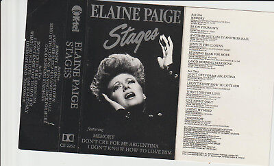 "Elaine Paige - "" Stages "" - Cassette Tape Album -1983"