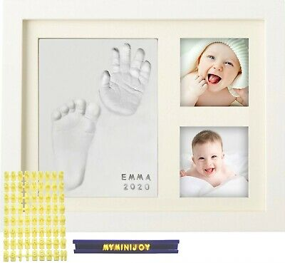 MyMiniJoy Newborn Baby Handprint and Footprint Picture Frame Kit with Letter Set