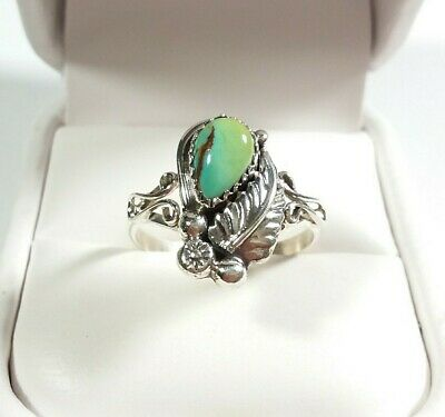 Navajo Signed B Sterling Etched Feather Design Royston Turquoise Size 10 Ring
