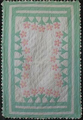 Vintage Applique Pink & Green Posies Floral Baby Crib Quilt 58x39