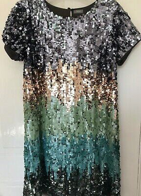 Girls Party Dress Covered In Sequins By Next Aged 12 Years Height 152Cm Layered
