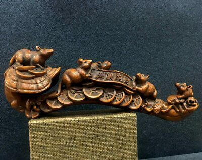 Collectable Chinese Boxwood Hand-Carved Five Rats Bring Wealth Auspicious Statue