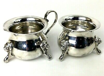 VICTORIA Silver Plate Cream Creamer & Sugar Set  Footed with Lions