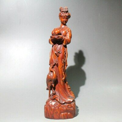 China Collect Old Boxwood HandWork Carve Fairy & Peach & Crane Noble Rare Statue