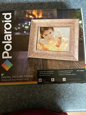 """Polaroid 8"""" Digital Picture Frame Gray Wood Frame - Brand New in Box"""