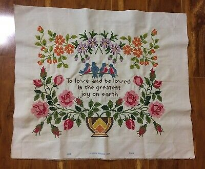 """Vintage Hand Embroidered """"To Love And Be Loved"""" Linen Sampler EXPERT HAND WORK"""
