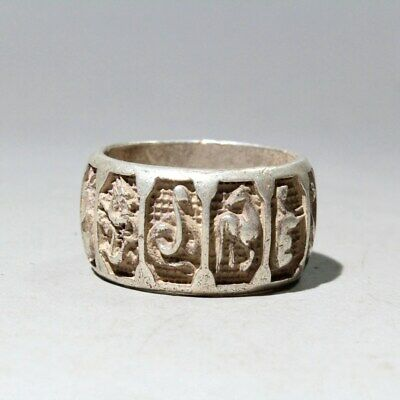 Collectable China Old Miao Silver Handwork Carve 12 Zodiac Auspicious Noble Ring