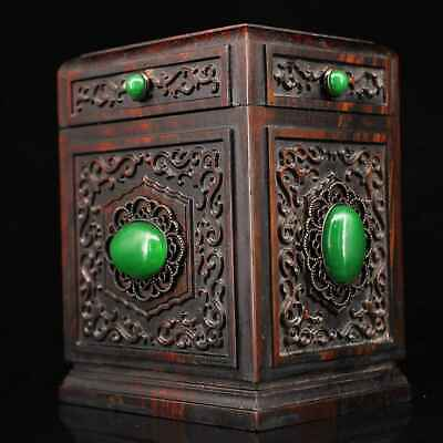 Collect Chinese Old Boxwood Mosaic Jade Hand-Carved Noble Rare Royal Storage Box