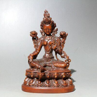 Collect China Old Boxwood Hand-Carved Lotus Kwan-Yin Buddha Auspicious Statue