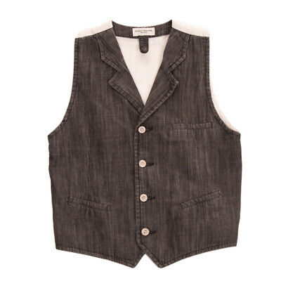 PAOLO PECORA JUNIOR Denim Waistcoat Size 12Y Contrast Back Button Front Y Neck