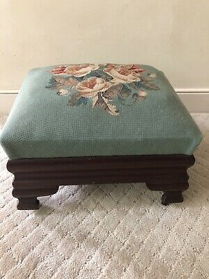 Biggs Furniture Antique American Empire Footstool Ottoman Needlepoint w Label