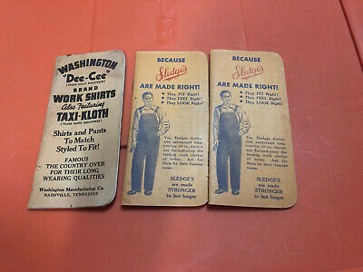 VTG Sledge's & Washington Dee-Cee Overalls Pocket Notepad Booklet Advertising