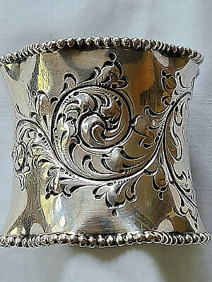 """Victorian Sterling Napkin Ring 1 1/2"""" Wide Scalloped Beaded Rim Repousse Scroll"""