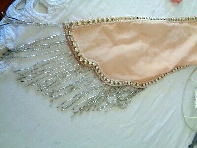 Sparkling 1920'S Flapper Chiffon Glass Beaded Trim & Mercury Glass Beads Fragmen
