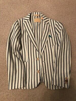 Scotch & Soda Scotch Shrunk Size 8/128 Boys Blue Striped Jacket/Blazer