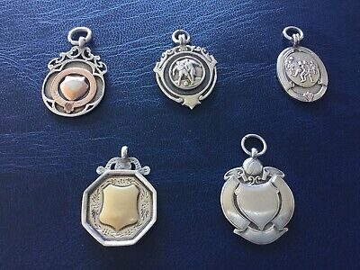 Collection of 5 Vintage Silver Hallmarked Watch Fob Medals 45.14g