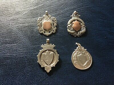 Collection Of 4 Silver Hallmarked Antique Vintage Watch Fob Medals 31.86g