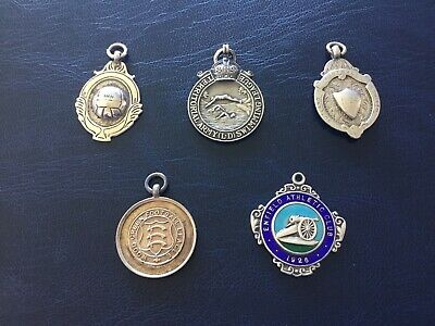 Collection Of 5 Vintage Solid Silver Watch Fob Medals 46.06g