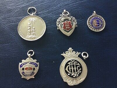 Collection Of 5 Silver Hallmarked Watch Fob Medals 53.92g