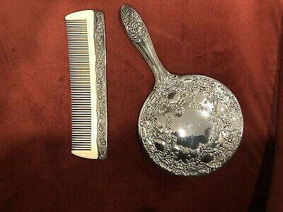 Antique Silverplated Mirror & Comb Set