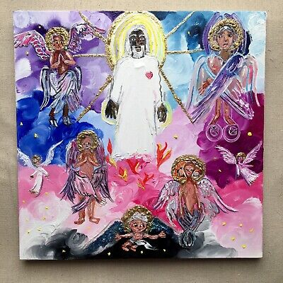 Jesus W/Angels Primitive Outsider 12x12 Mixed Media Canvas Bd Folk Art