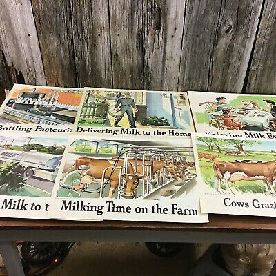 Set of 6 vintage 1960 National Dairy Council Milk posters GVC