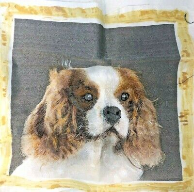 Cavalier King Charles Chinese Silk Hand Embroidered unusual