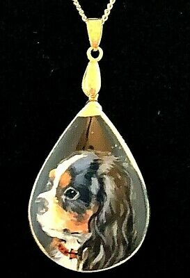 Cavalier Handpainted Necklace Blk & tan hanging from g/f  chain