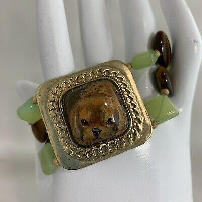 Cavalier King Charles Spaniel Dog Handpainted Bracelet Tigers Eye Prehnite