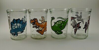 Vintage Welch's Jelly Glasses Dinosaurs Set of 4 Different Excellent+ 1988-89