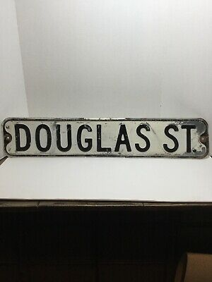 Douglas St Vintage Street Sign Embossed 30 x 6 Black & White HEAVY Well Used