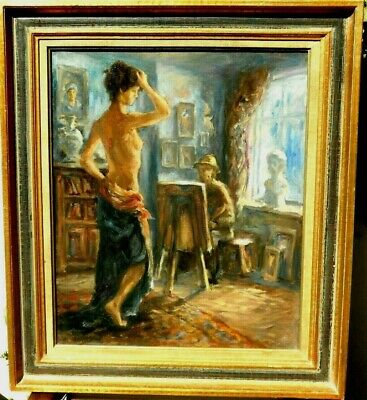 A beautiful painting Oil /Canvas Painter and his model Masterpiece france school