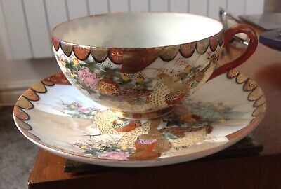 Japanese Egg Shell China Cup/ Saucer Hand Painted With Lovely Scene