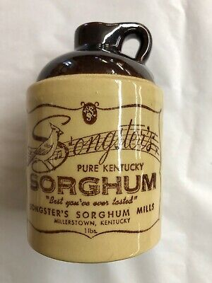 Songster's Pure Kentucky Sorghum I Lb. Empty Crock Millerstown, Ky Collectible