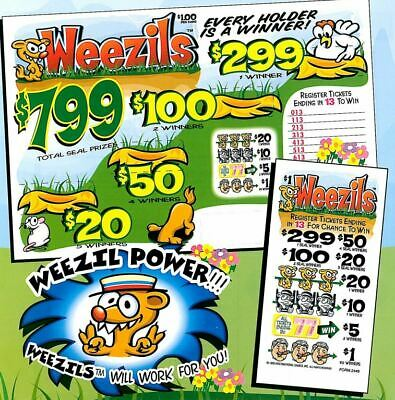 """NEW- Pull Tab Ticket """"LUCKY DIAMONDS"""" 1470ct-  FREE SHIPPING"""