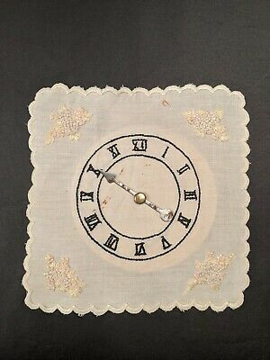Antique Hand Embroidered Clock Pattern Handkerchief With Florals