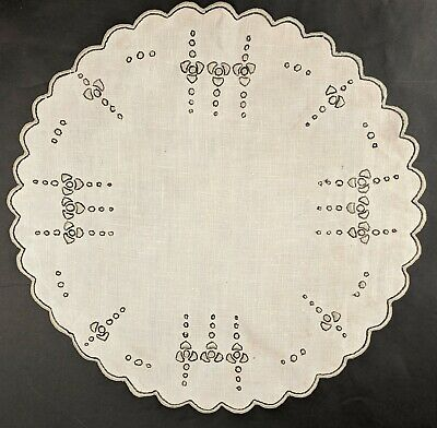 Antique Arts And Crafts Hand Embroidered Linen Cloth / Doily