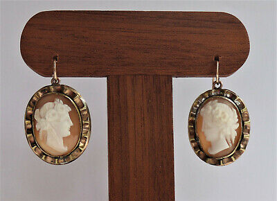 IMPRESSIVE ANTIQUE VICTORIAN SHELL CAMEO EARRINGS 9ct Gold Wires & Gilt Metal